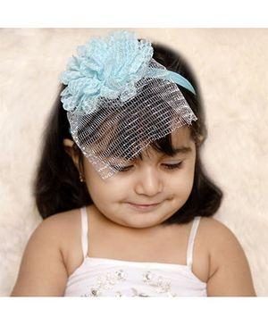 D'chica Flower Headband With A Veil - Blue