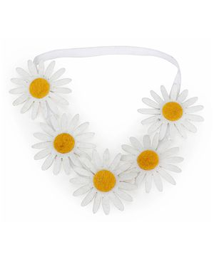 D'chica Cluster Of Sunflowers Headband - White & Yellow