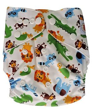 ChuddyBuddy Cloth Diaper Animal Fun Print - Multicolour