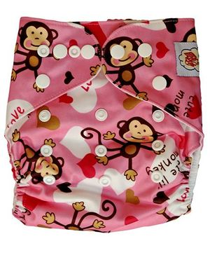 ChuddyBuddy Cloth Diaper With Insert Pink Monkey Print - Pink