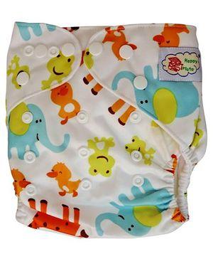 ChuddyBuddy Cloth Diaper With Insert Giraffes & Ducks Print - White
