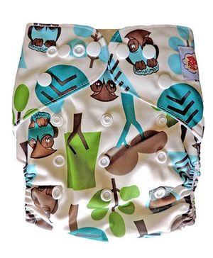 ChuddyBuddy Cloth Diaper With Insert Trees Print - White