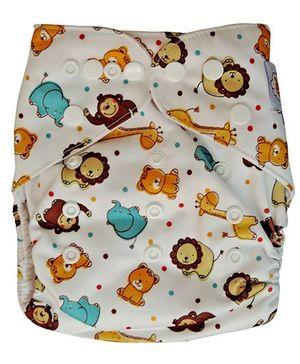 ChuddyBuddy Cloth Diaper With Insert Bears & Lions Print - Multicolour