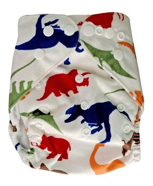 ChuddyBuddy Cloth Diaper With Insert Dinosaurs Print - White