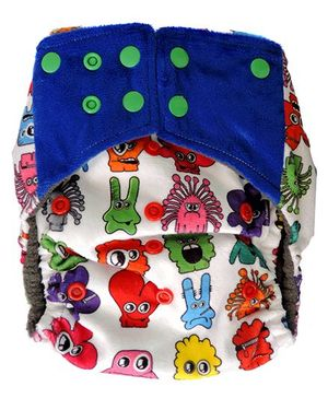 ChuddyBuddy All In One Cloth Diaper With Insert Stitched Inside Minky Monsters Print - White