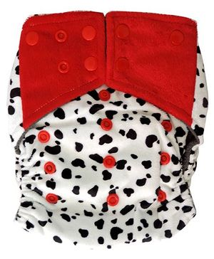 ChuddyBuddy All In One Cloth Diaper With Insert Stitched Inside Minky Dalmatians Print - White