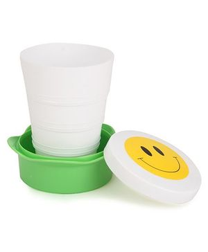 Collapsible Cup Smiley Design - White Green