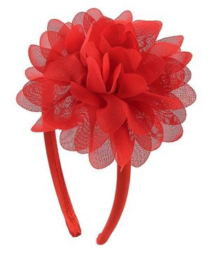 Pikaboo Hair Band Floral Applique - Red
