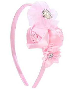 Pikaboo Roses And Pearls Hairband - Light Pink