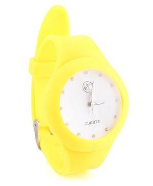 Analog Wrist Watch Round Shape Dial - Yellow