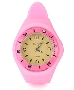 Analog Wrist Watch Round Shape Dial - Pink Yellow