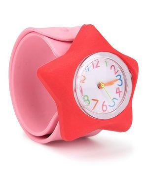 Analog Wrist Watch Star Shape Dial - Pink