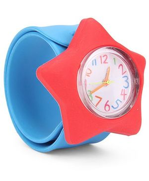Analog Wrist Watch Star Shape Dial - Red Blue