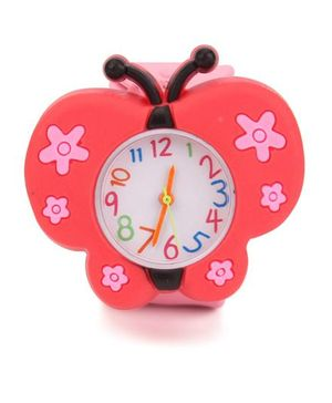 Analog Wrist Watch Butterfly Shape Dial - Red Pink