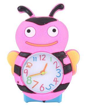 Analog Wrist Watch Honeybee Shape Dial - Pink Blue