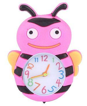 Analog Wrist Watch Honeybee Shape Dial - Pink