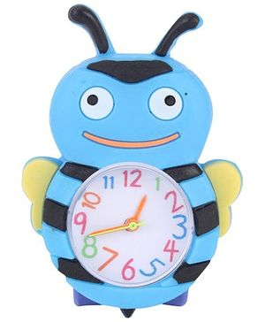 Analog Wrist Watch Honeybee Shape Dial - Light Blue