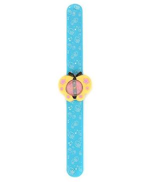 Slap Style Analog Watch Butterfly Design - Blue