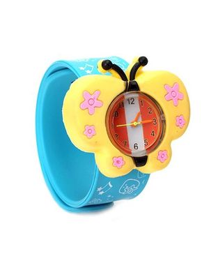 Analog Wrist Watch Butterfly Shape Dial - Yellow & Teal Blue