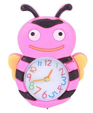 Analog Wrist Watch Honeybee Shape Dial - Pink