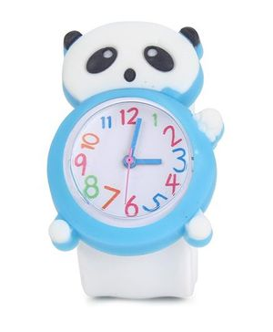 Analog Wrist Watch Bear Shape Dial - White Blue