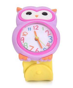 Analog Wrist Watch Owl Shape Dial - Purple Yellow