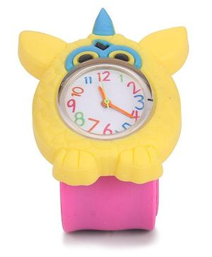 Analog Wrist Watch Bird Shape Dial - Yellow Pink