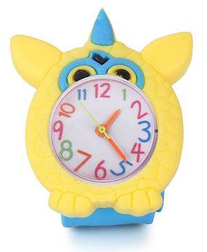 Analog Wrist Watch Owl Shape Dial - Blue Yellow