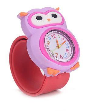 Analog Wrist Watch Owl Shape Dial - Red Purple