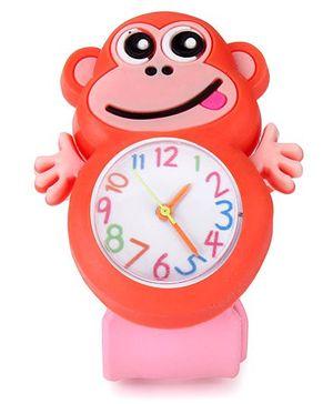 Analog Wrist Watch Monkey Shape Dial - Orange Pink