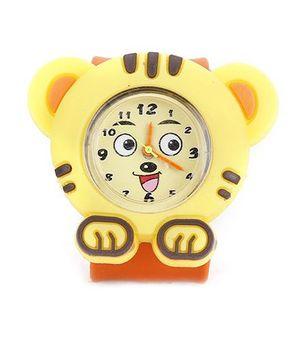 Analog Wrist Watch Tiger Shape Dial - Yellow Orange
