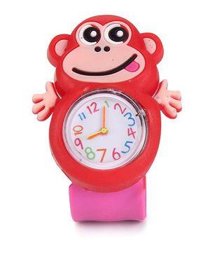 Analog Wrist Watch Monkey Shape Dial - Pink Red