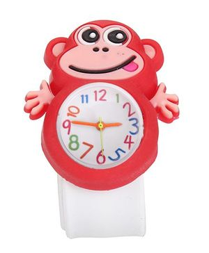 Analog Wrist Watch Monkey Shape Dial - Red White