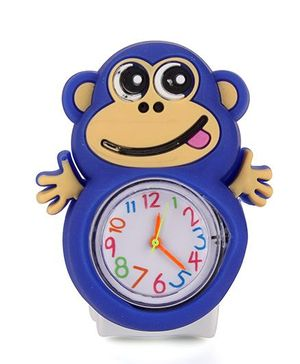 Analog Wrist Watch Monkey Shape Dial - Blue White