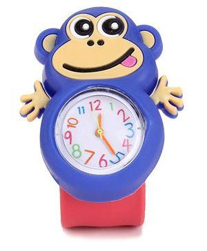 Analog Wrist Watch Monkey Shape Dial - Red Blue