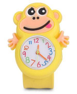 Analog Wrist Watch Monkey Shape Dial - Yellow