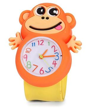 Analog Wrist Watch Monkey Shape Dial - Yellow Orange