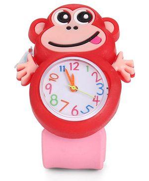 Analog Wrist Watch Monkey Shape Dial - Red Pink