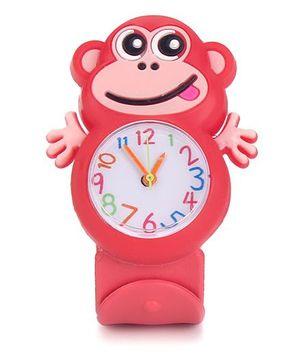Analog Wrist Watch Monkey Shape Dial - Red
