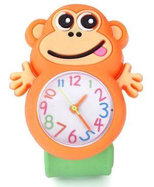 Analog Wrist Watch Monkey Shape Dial - Orange Green