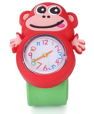 Analog Wrist Watch Monkey Shape Dial - Red Green