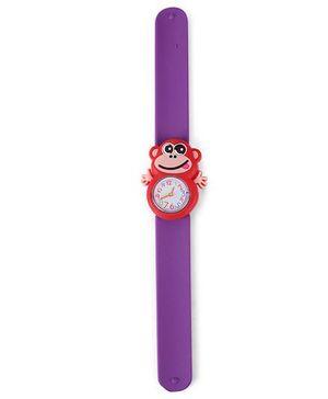 Analog Wrist Watch Monkey Shape Dial - Purple Red