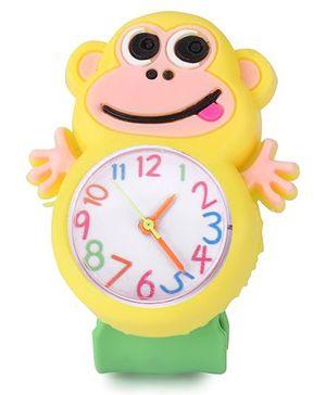 Analog Wrist Watch Monkey Shape Dial - Yellow Green