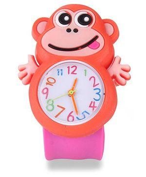 Analog Wrist Watch Monkey Shape Dial - Pink Orange