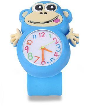 Analog Wrist Watch Monkey Shape Dial - Blue