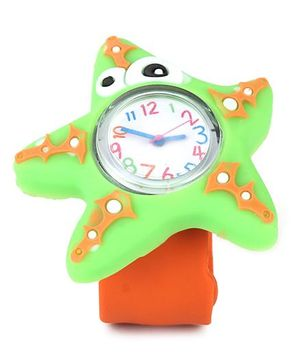 Analog Wrist Watch Star Fish Shape Dial - Orange Green