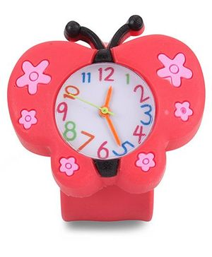 Analog Wrist Watch Butterfly Shape Dial - Red