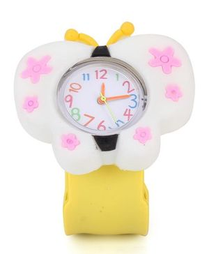 Analog Wrist Watch Butterfly Shape Dial - White Yellow