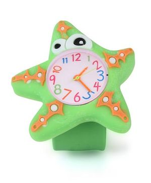Analog Wrist Watch Star Fish Shape Dial - Green