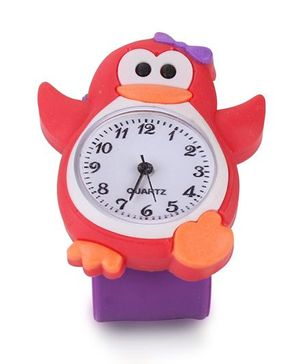 Analog Wrist Watch Penguin Shape Dial - Purple Red
